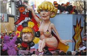 Bikini-clad Merkel, Crisis-hit Obama at German Carnival
