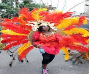 Multicoloured Tidal Wave of Dancing People for Lagos Carnival