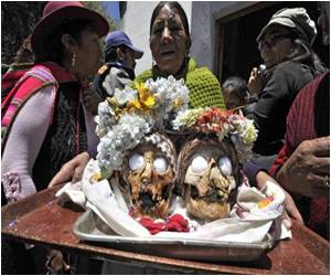 Blessings Sought for Their Human Skulls by Bolivians