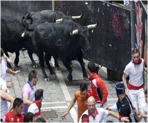 Spain's Pamplona Bull-Run Festival Launched Amid Huge Crowds