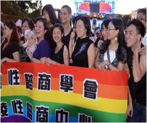 Same-Sex Marriage Supporters Hold Mock Wedding Banquet to Drum Up Support for Gay Marriage Bill