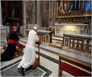 Pope Francis Visits John Paul II's Tomb at St Peter's Basilica