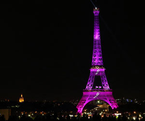 Eiffel Tower Lit in Pink to Raise Awareness on Breast Cancer
