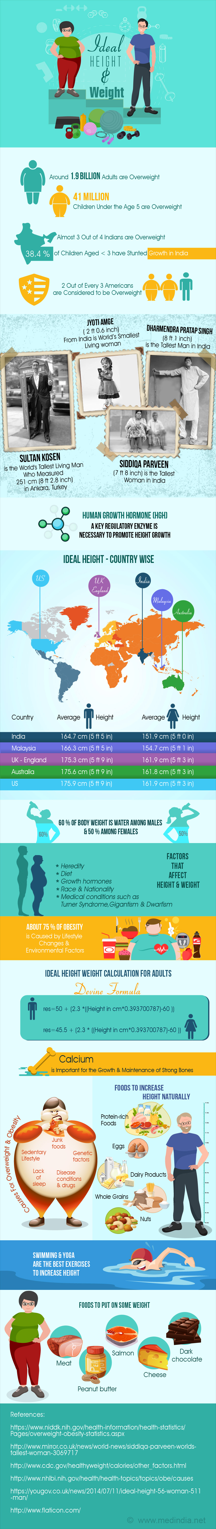 Ideal Height and Weight - Infographic