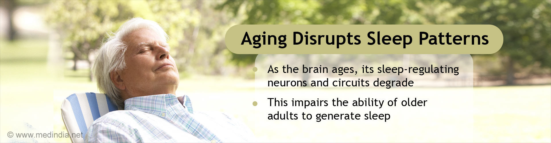 Aging Disrupts Sleep Patterns - As the brain ages, its sleep-regulating neurons and circuits degrade - This impairs the ability of older adults to generate sleep