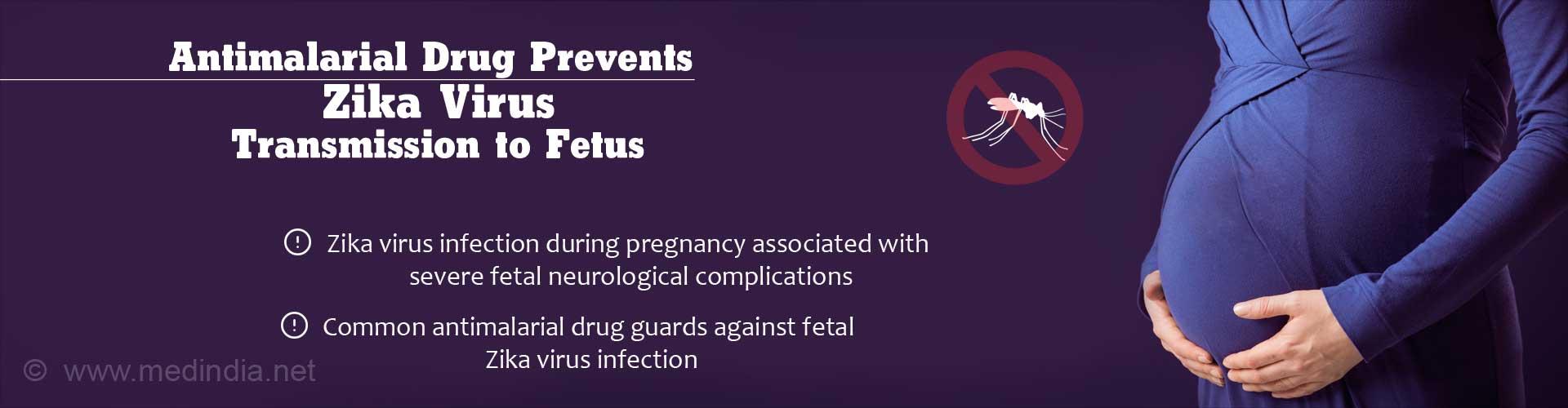 Antimalarial Drug Prevents Zika Virus Transmission to Fetus - Zika virus during pregnancy associated with severe fetal neurological complications - Common antimalarial drug guards against fetal Zika virus infection