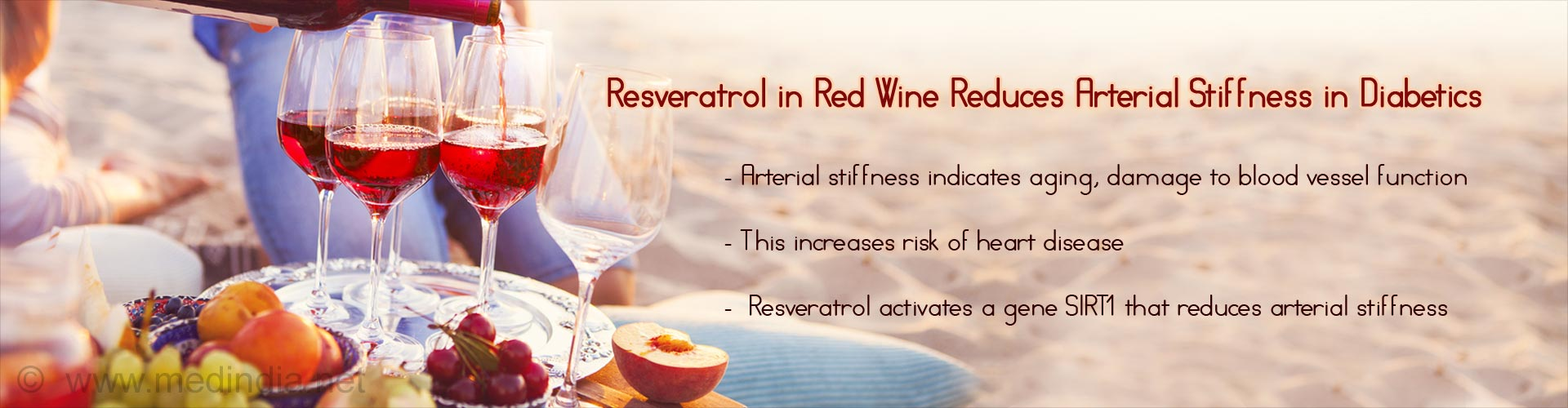 resveratrol in red wine reduces arterial stiffness in diabetics