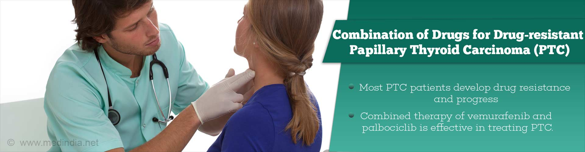combination of drugs for drug-resistant papillary thyroid carcinoma (PTC) - most PTC patients develop drug resistance and progress - combined therapy of vemurafenib and palbociclib is effective in treating PTC