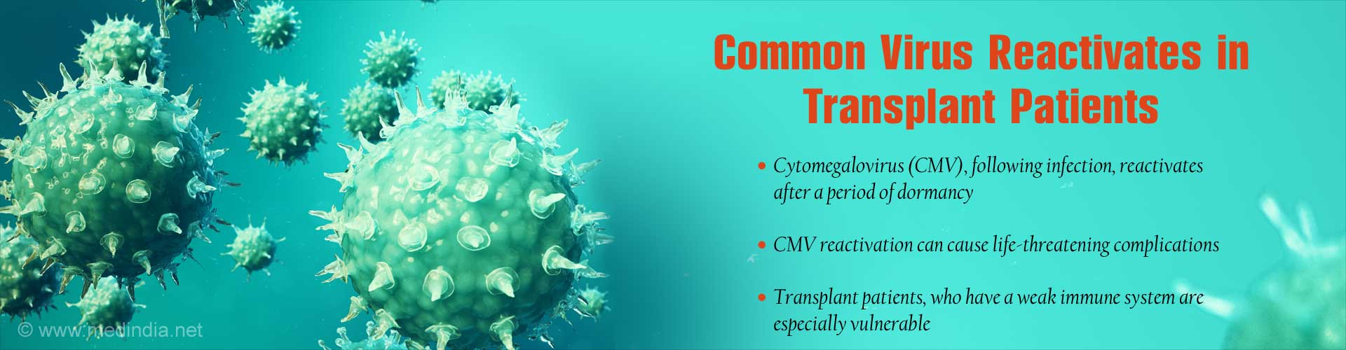 Common virus reactivates in transplant patients. Cytomegalovirus (CMV), following infection, reactivates after a period of dormancy. CMV reactivation can cause life-threatening complications. Transplant patients, who have a weak immune system are especially vulnerable.