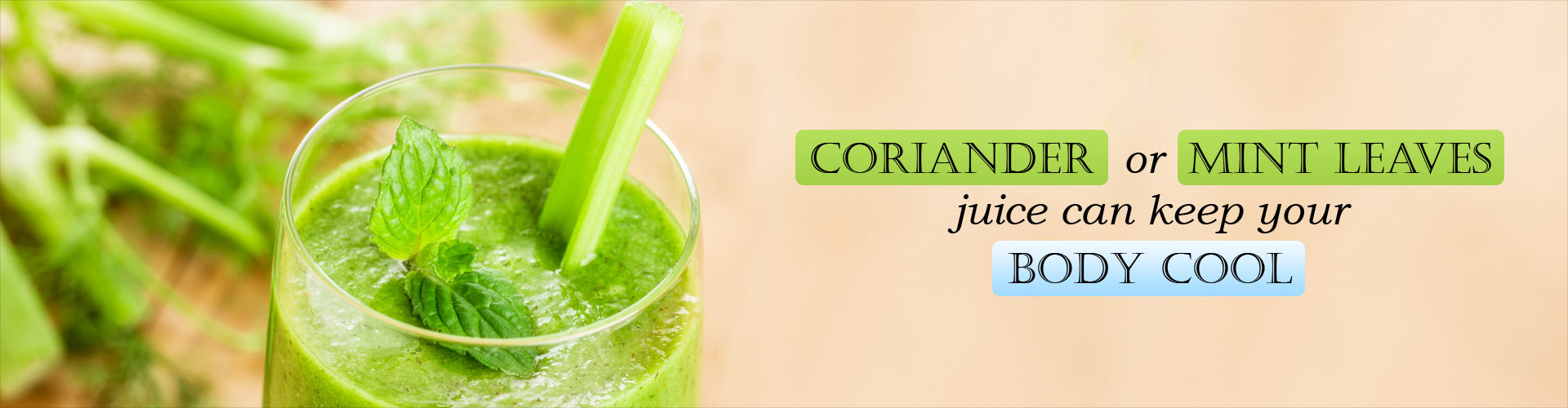 Coriander or mint leaves juice can keep your body cool