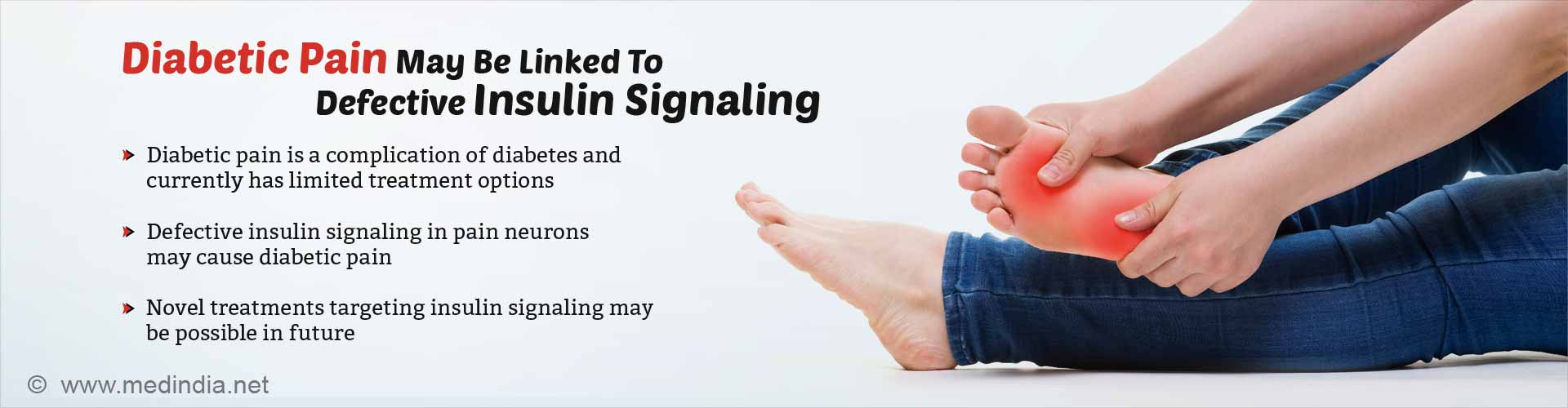 diabetic pain may be linked to defective insulin signaling - diabetic pain is a complication of diabetes and currently has limited treatment options - defective insulin signaling in pain neurons may cause diabetic pain - novel treatments targeting insulin signaling may be possible in the future
