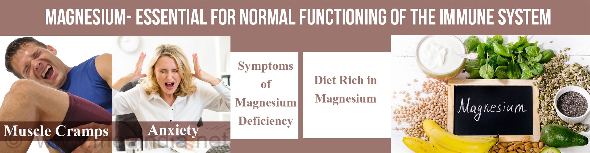Magnesium - Essential For Normal Functioning of the Immune System Symptoms of Magnesium - Muscle Cramps - Anxiety Diet rich in magnesium