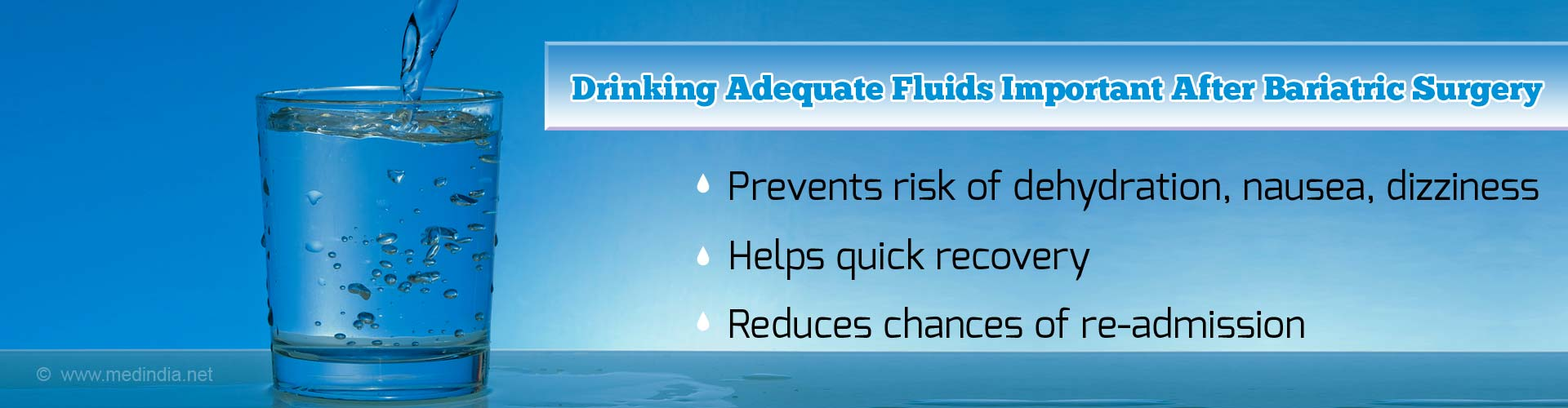 Drinking adequate fluids post bariatric surgery