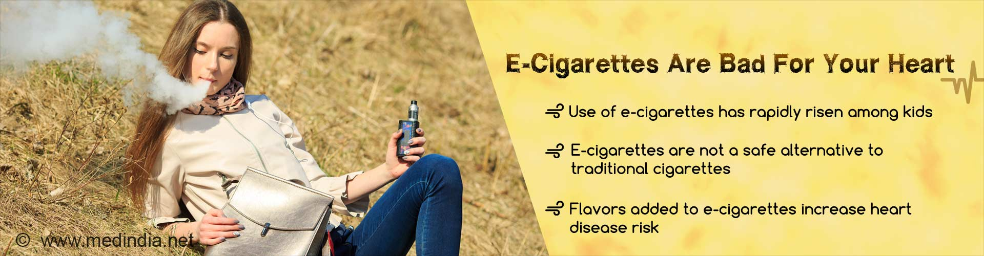 E-cigarettes are bad for your heart. Use of e-cigarettes has rapidly risen among kids. E-cigarettes are not a safe alternative to traditional cigarettes. Flavors added to e-cigarettes increase heart disease risk.