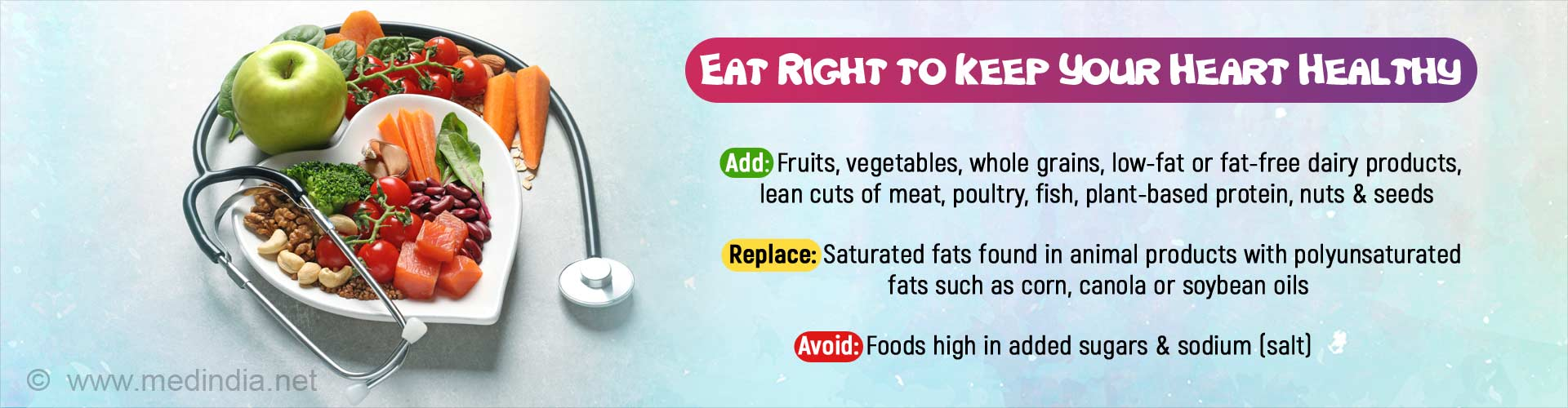 Eat right to keep your heart healthy. Add: Fruits, vegetables, whole grains, low-fat or fat-free dairy products, lean cuts of meat, poultry, fish, plant-based protein, nuts and seeds. Replace: Saturated fats found in animal products with polyunsaturated fats such as corn, canola or soybean oils. Avoid: Foods high in added sugars and sodium (salt).