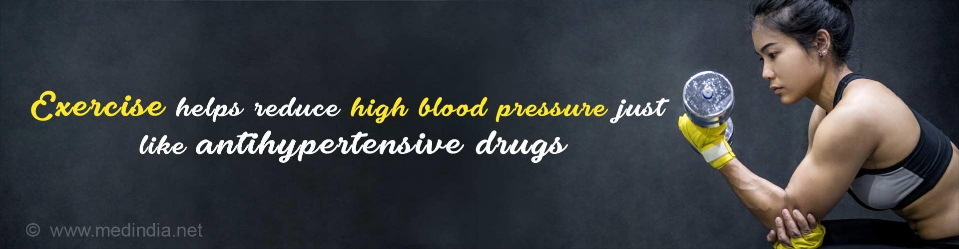 Exercise helps reduce high blood pressure just like antihypertensive drugs.