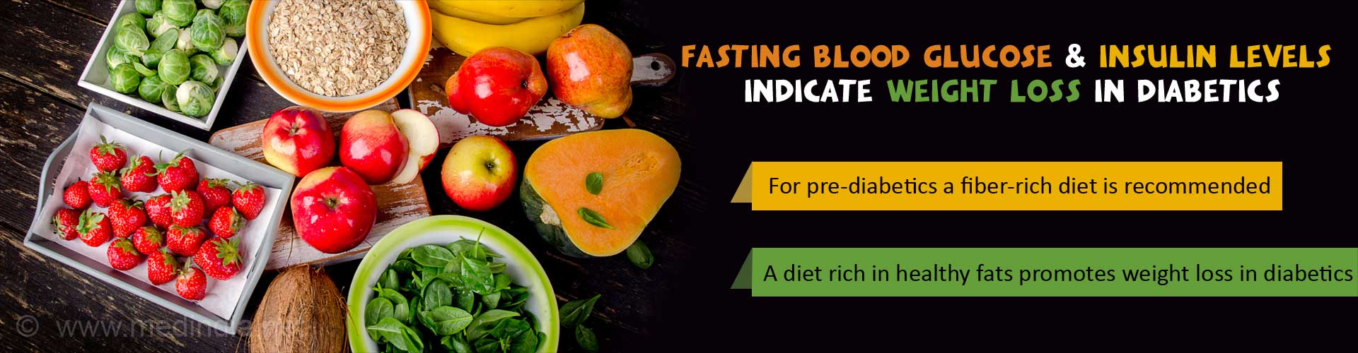 Fasting blood glucose & insulin levels indicate weight loss in diabetes