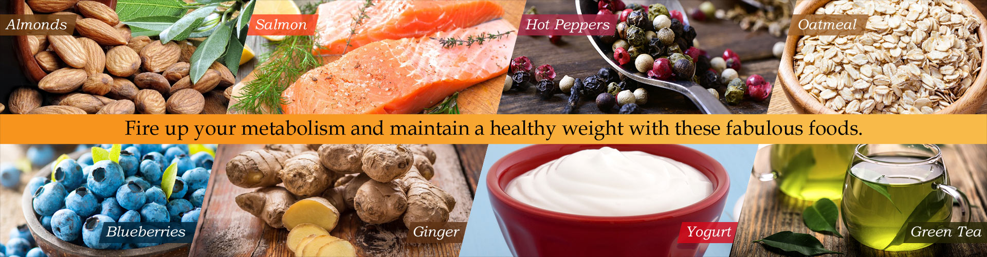 Fire up your metabolism and maintain a healthy weight with these fabulous foods.  Almonds, Salmon, Hot Peppers, Oatmeal, Blueberries, Ginger, Yogurt, Green Tea