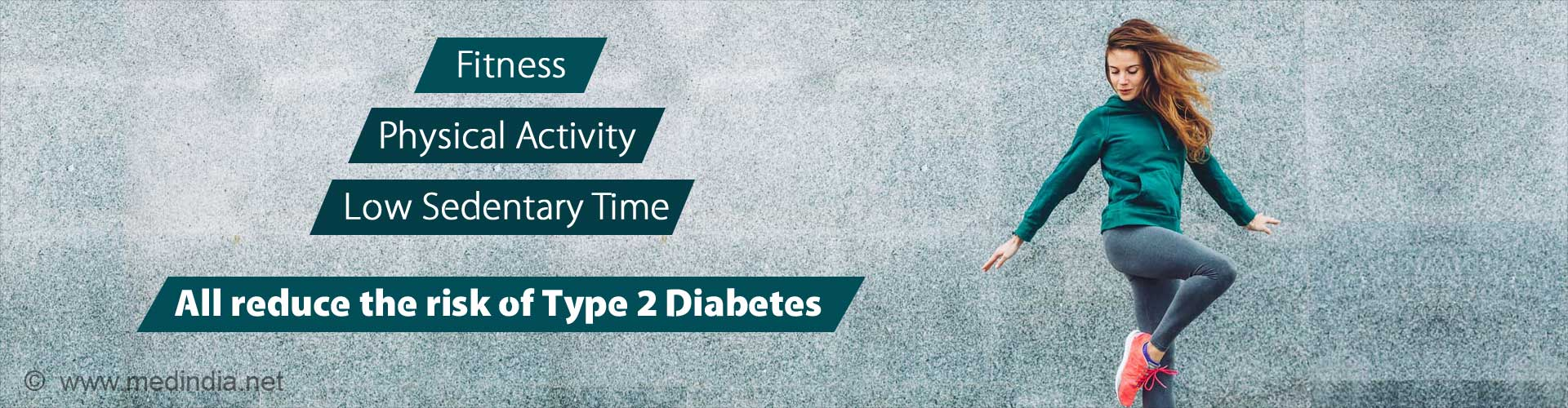 Fitness, physical activity, low sedentary time. all reduce the risk of Type 2 diabetes.