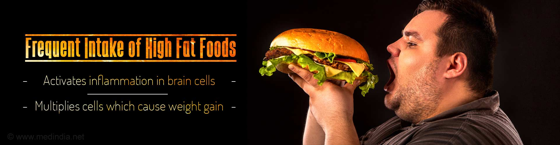 frequent intake of high fat foods - activates inflammation in brain cells - multiplies cells which cause weight gain