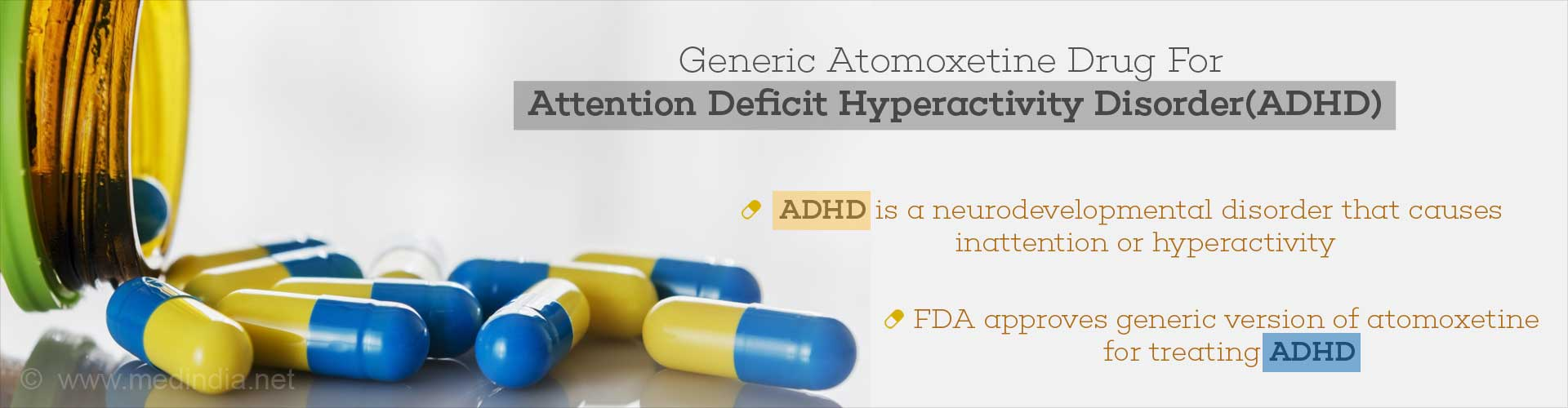 Generic atomoxetine drug for Attention Deficit Hyperactivity Disorder (AHDH)