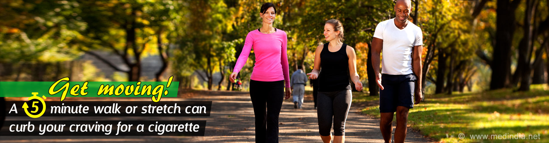 Get moving! A 5 minute walk or stretch can curb your craving for a cigarette