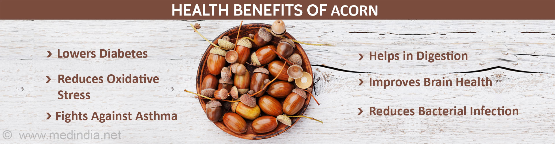 Health benefits of acorn - Lowers diabetes - Reduces oxidative stress - Helps in digestion - Improves brain health - Reduces bacterial infection