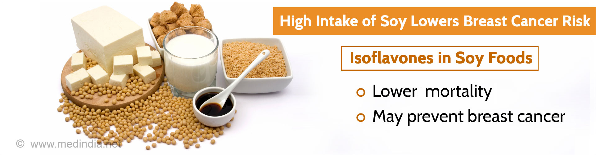 High intake of soy lowers breast cancer risk  Isoflavones in Soy Foods - Lowers mortality - May prevent breast cancer