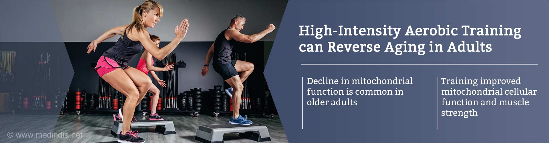 high-intensity aerobic training can reverse aging in adults - decline in mitochondrial function is common in older adults - training improved mitochondrial cellular mitochondrial cellular function and muscle strength