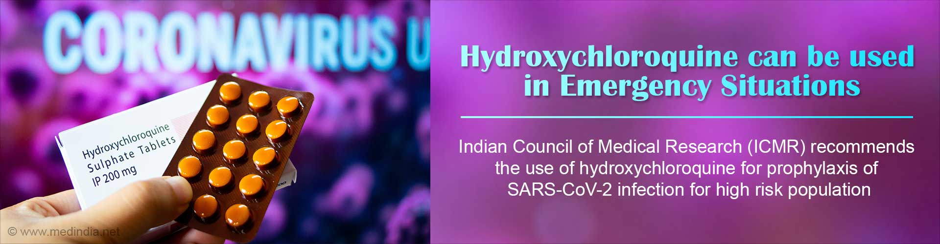 ICMR Recommends Hydroxychloroquine Use in Emergency Situations