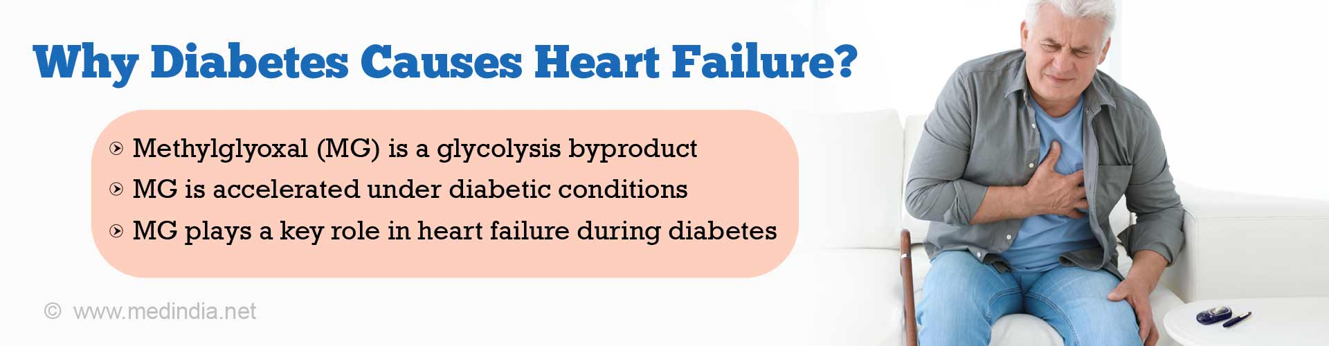 Why diabetes causes heart failure? Methylglyoxal (MG) is a glycolysis byproduct. MG is accelerated under diabetic conditions. MG plays a key role in heart failure during diabetes.