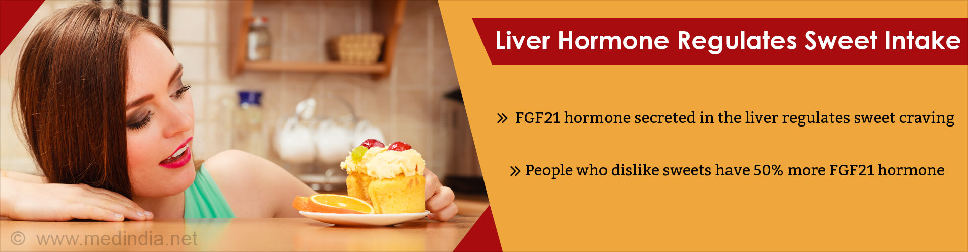 Liver hormone regulates sweet intake - FGF21 hormone secreted in the liver regulates sweet craving - People who dislike sweets have 50% more FGF21 hormone