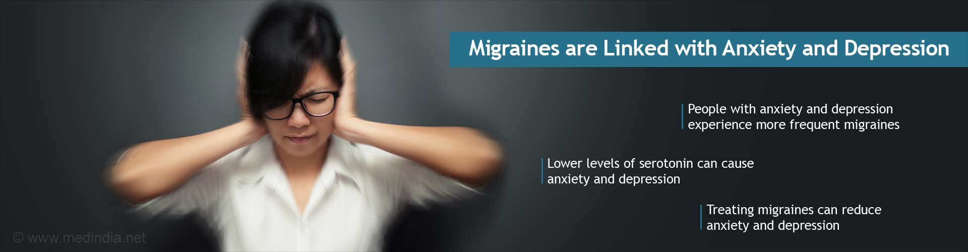 Migraines are linked with anxiety and depression