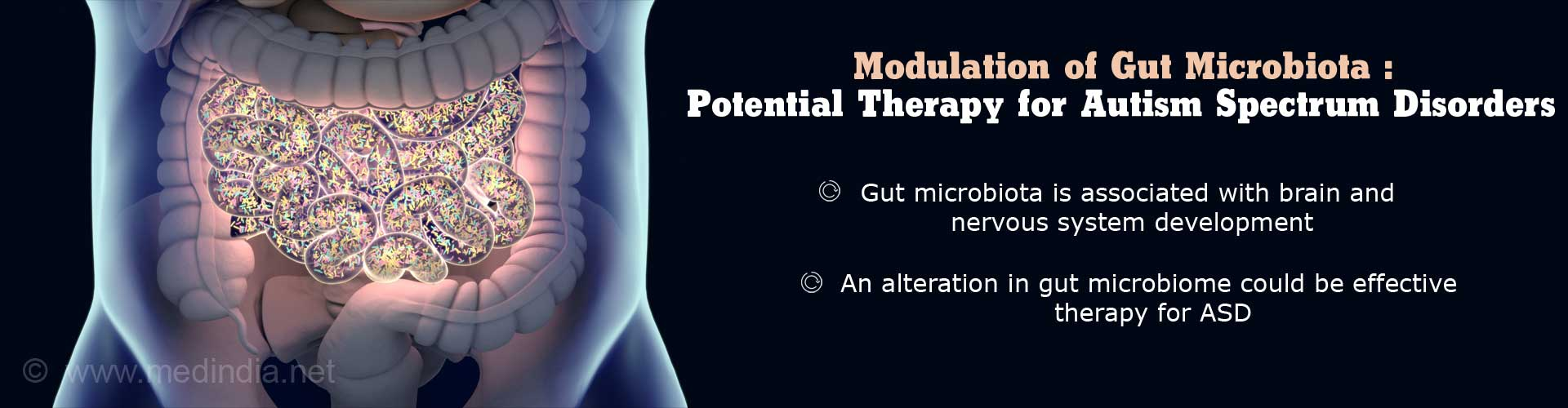 Modualtion of Gut Microbiota: Potential Therapy for Autism Spectrum Disorder - Gut microbiota is associated with brain and nervous system development - An alteration in gut microbiome could be effective therapy for ASD