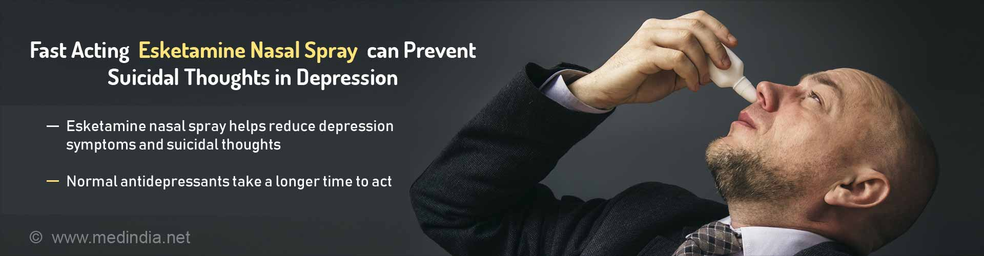fast acting esketamine nasal spray can prevent suicidal thoughts in depression
