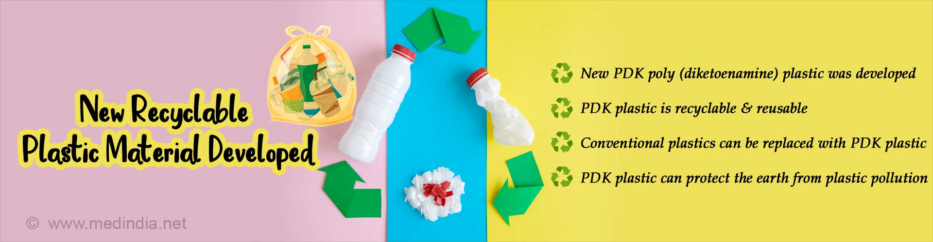 New recyclable plastic material developed. New PDK poly (diketoenamine) plastic was developed. PDK plastic is recyclable and reusable. Conventional plastics can be replaced with PDK plastic. PDK plastic can protect the earth from plastic pollution.