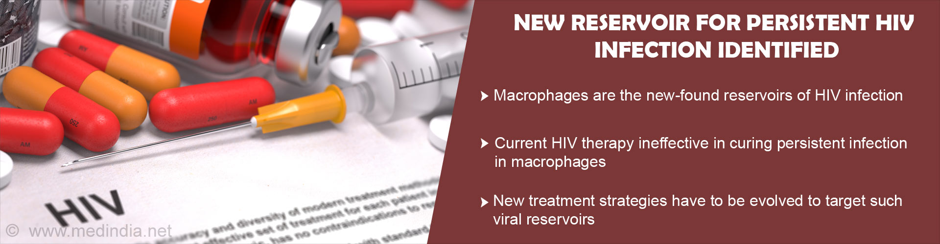 New Reservoir for persistent HIV infection identified - Macrophages are the new-found reservoirs of HIV infection - Current HIV therapy ineffective in curing persistent infection in macrophages - New treatment strategies have to be evolved to target such viral reservoirs