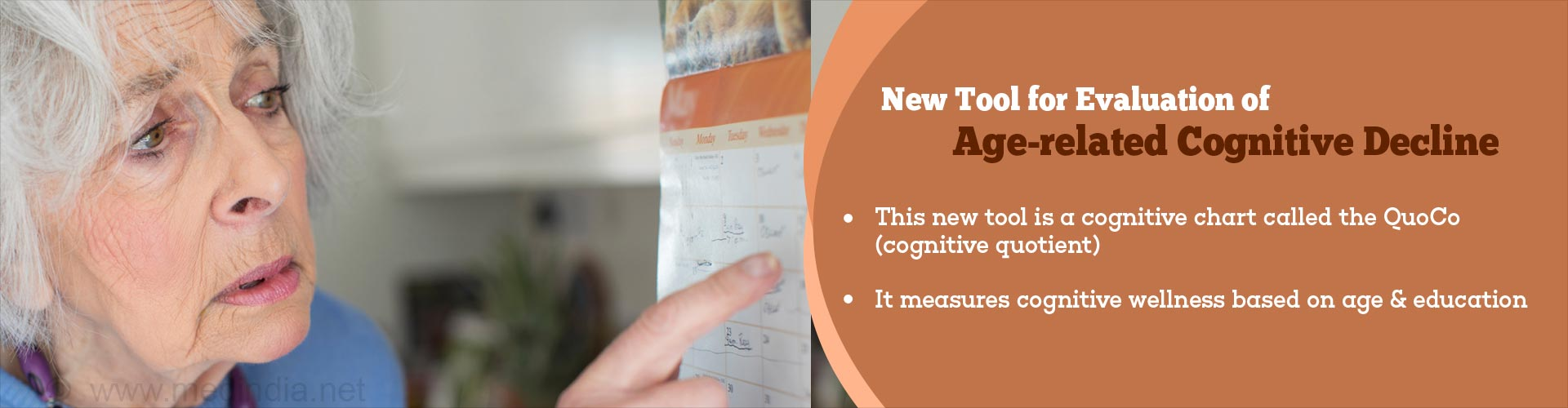 New tool for evaluation of age-related cognitive decline - this new tool is a cognitive chart called the QuoCo (cognitive quotient) - it measures cognitive wellness based on age & education
