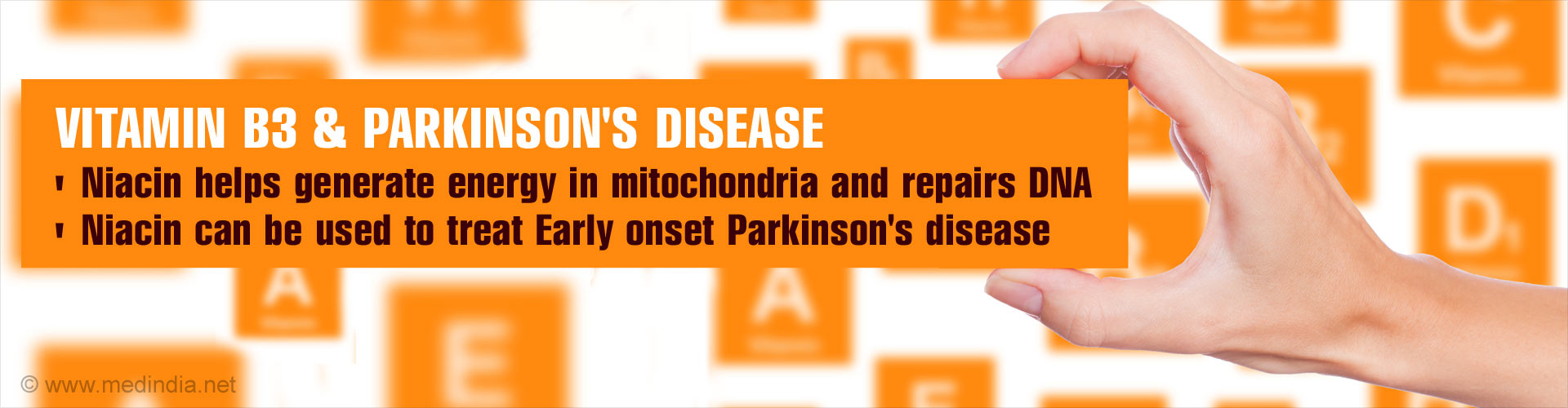 Vitamin B3 & Parkinson's Disease - Niacin helps generate energy in mitochondria and repairs DNA - Niacin can be used to treat early onset Parkinson's disease