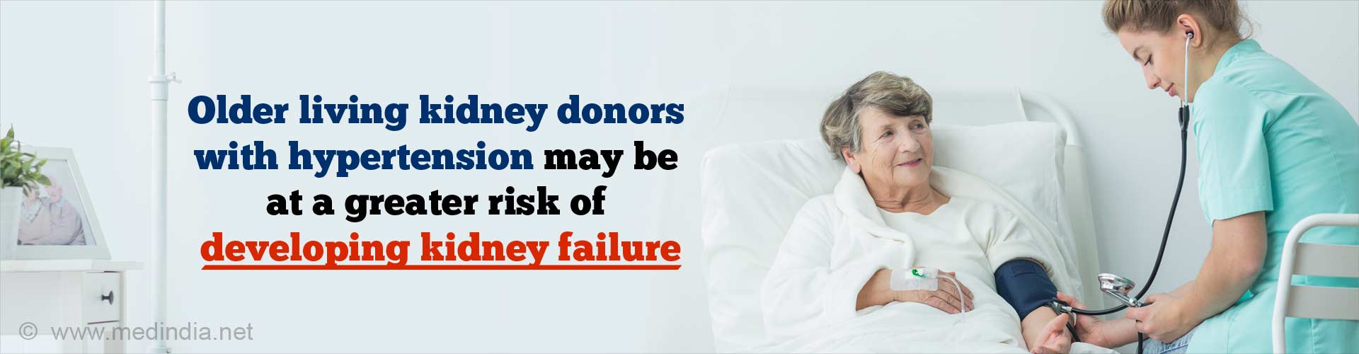 Older living kidney donors with hypertension may be at a greater risk of developing kidney failure.