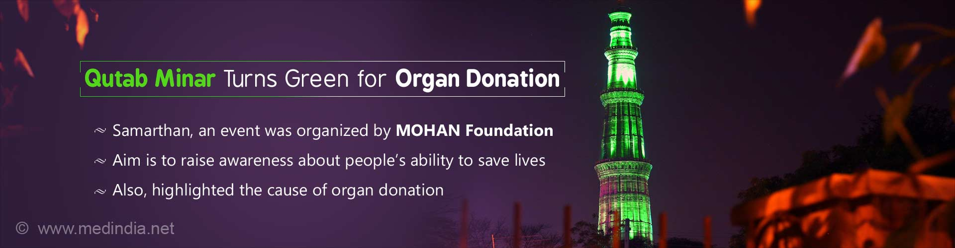 Qutab Minar Turns Green for Organ Donation