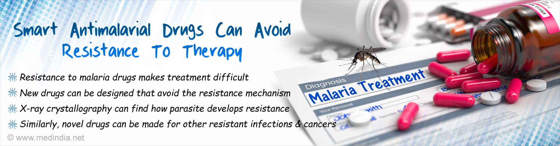 Smart antimalarial drugs can avoid resistance to therapy. Resistance to malarial drugs makes treatment difficult. New drugs can be designed that avoid the resistance mechanism. X-ray crystallography can find how parasite develops resistance. Similarly, novel drugs can be made for other resistant infections and cancers.