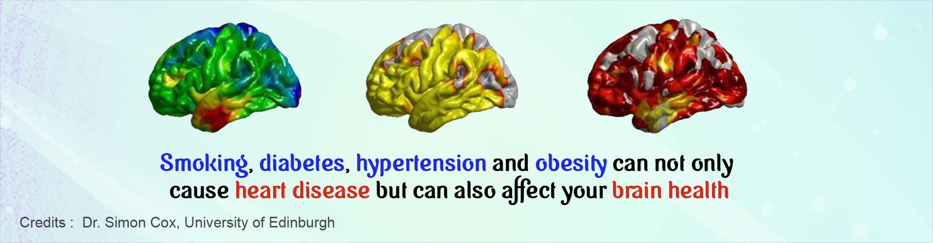 Smoking, diabetes, hypertension and obesity can not only cause heart disease but can also affect your brain health.