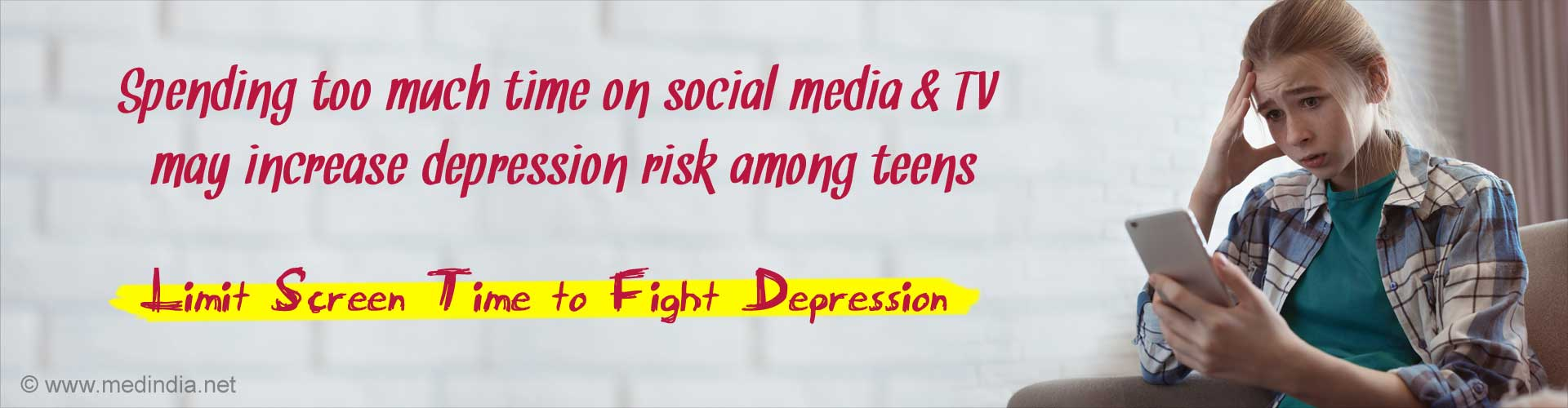 Spending too much time on social media and TV may increase depression risk among teens. Limit screen time to fight depression.