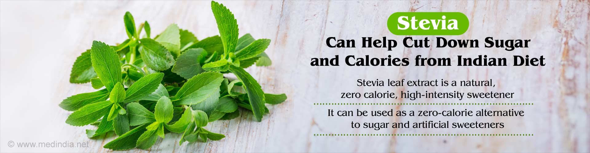 stevia can help cut down sugar and calories from indian diet