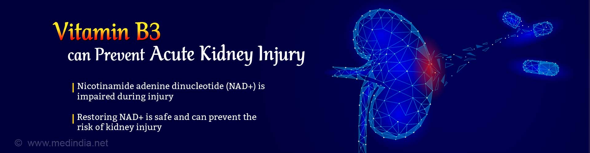 Vitamin B3 can prevent acute kidney injury. Nicotinamide adenine dinucleotide (NAD+) is impaired during kidney injury. Restoring NAD+ is safe and can prevent the risk of kidney injury.