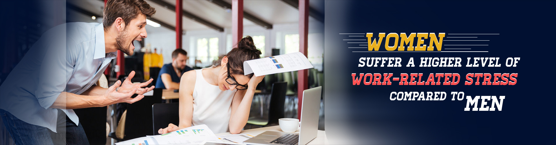 Women suffer higher level of work-related stress compared to men