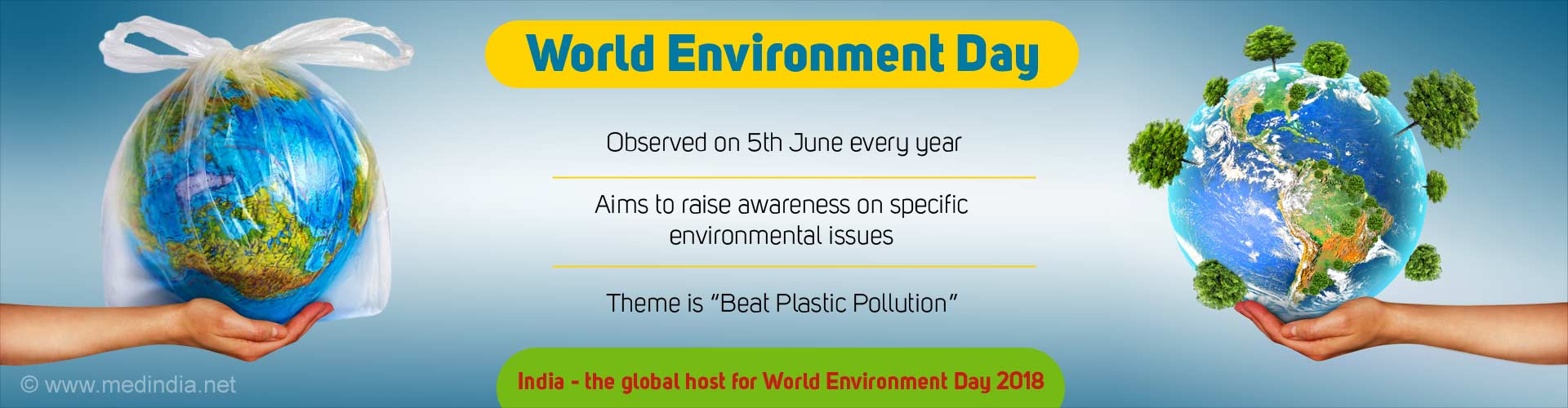 World Environment Day. Observed on 5th June every year. Aims to raise awareness on specific environmental issues. Theme is Beat Plastic Pollution. India - the global host for World Environment Day 2018.