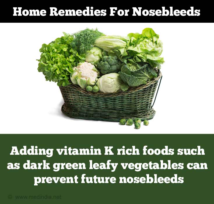 Home Remedies for Nose bleed: Green Leafy Vegetables
