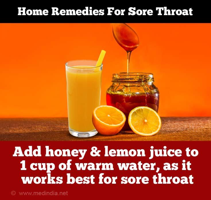 Honey and Lemon Juice Treats Sore Throat